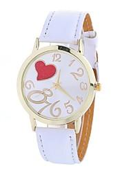 cheap -Women's Fashion Watch Chinese Large Dial PU Band Heart shape / Casual Black / White / Blue / One Year