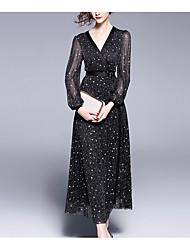 cheap -Women's Party Slim Sheath Dress - Solid Colored High Waist Maxi Deep V / Sexy
