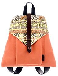 Недорогие -Жен. Мешки холст рюкзак Узоры / принт Синий / Белый / Оранжевый