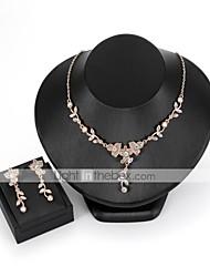 baratos -Mulheres Zircão / Chapeado Dourado Floral / Boêmio Formato de Folha / Flor Conjunto de jóias 1 Colar / Brincos - Floral / Boêmio Dourado