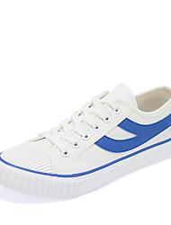 preiswerte -Damen Schuhe Tüll Sommer Komfort Sportschuhe Flacher Absatz Runde Zehe für Draussen Weiß und Rot Weiß/Blau