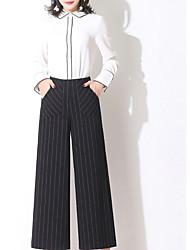 abordables -Femme Basique Grandes Tailles Taille haute Mince Ample Pantalon Couleur Pleine Rayé