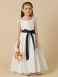 cheap -A-Line Ankle Length Flower Girl Dress - Taffeta Short Sleeves Scoop Neck with Bow(s) Sash / Ribbon by LAN TING BRIDE®