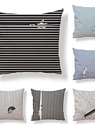 preiswerte -6 Stück Gewebe Baumwolle / Leinen Kissenbezug, Art Deco Einfache Print Künstlerisch Moderner Stil