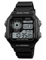 cheap -SKMEI Men's Digital Digital Watch Alarm Calendar / date / day Water Resistant / Water Proof Casual Watch Rubber Band Casual Cool Black