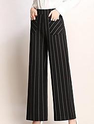 cheap -Women's Basic Cotton Slim Wide Leg Pants - Striped High Waist / Summer