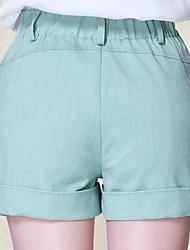 abordables -Mujer Vintage Tallas Grandes Algodón Shorts Pantalones - Un Color, Plisado