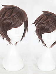 cheap -Synthetic Wig Straight Layered Haircut Synthetic Hair Natural Hairline Brown Wig Men's Short Capless