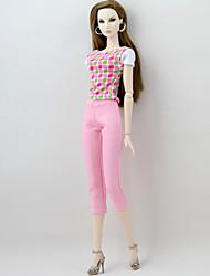 abordables -Organismes Seperate Pantalon / Haut 2 pcs Pour Poupée Barbie Rose Polyester / Coton Haut / Pantalon Pour Fille de Jouets DIY