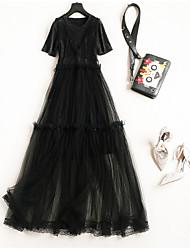 povoljno -Žene Vintage Ulični šik A kroj Swing kroj Haljina Jednobojni Midi