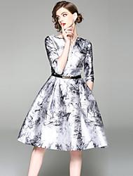 baratos -Mulheres Vintage Moda de Rua Evasê Vestido - Estampado, Abstrato Altura dos Joelhos