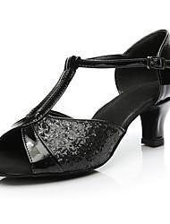 cheap -Women's Latin Shoes Paillette Heel Customized Heel Customizable Dance Shoes Black / Indoor / Practice