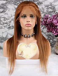 baratos -Cabelo Remy Peruca Cabelo Brasileiro Liso Corte em Camadas 130% Densidade Com Baby Hair Marrom Curto Longo Comprimento médio Mulheres