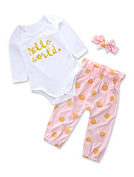cheap -Baby Girls' Daily Holiday Polka Dot Clothing Set, Cotton Polyester Spring Summer Cute Casual Long Sleeves Blushing Pink 90 100 80 70