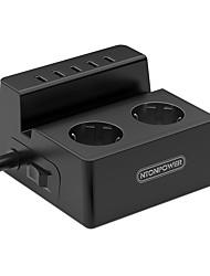 baratos -NTONPOWER Smart Plug ODC-2A5U-EU-5A-BK para Sala de estar / Estude / Quarto Protecção de Desligar / Criativo / Segurança 100-240 V