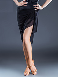 abordables -Danse latine Bas Femme Utilisation Soie Glacée Combinaison Ruché Taille moyenne Jupes
