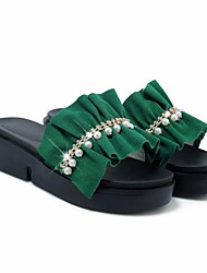 cheap -Women's Shoes Nubuck leather Summer Comfort Slippers & Flip-Flops Wedge Heel for Black Yellow Green
