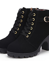 cheap -Women's Shoes PU Fall Winter Combat Boots Boots Chunky Heel Booties / Ankle Boots for Black Yellow Red