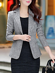 cheap -Women's Daily / Work Basic / Street chic Plus Size Blazer - Solid Colored / Spring / Fall