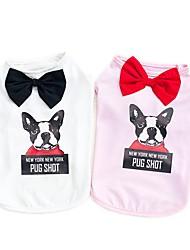 baratos -Cachorros Camisetas Roupas para Cães Sólido Desenho Animado Branco Rosa claro Tecido Alcochoado Ocasiões Especiais Para animais de