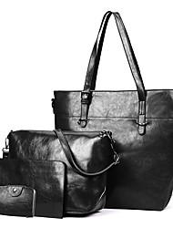 baratos -Mulheres Bolsas PU Leather Conjuntos de saco Conjunto de bolsa de 4 pcs Botões / Ziper Vermelho / Cinzento / Marron
