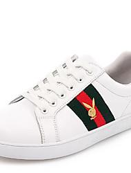 baratos -Mulheres Sapatos Pele Primavera Outono Conforto Tênis Sem Salto Ponta Redonda para Casual Vermelho Verde