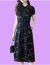 cheap -Women's Basic Slim Swing Dress - Floral