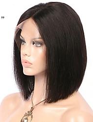 Недорогие -Необработанные / Натуральные волосы Лента спереди Парик Бразильские волосы Прямой Парик Стрижка боб / Короткий Боб / Средняя часть 130% С детскими волосами / Природные волосы / Для темнокожих женщин