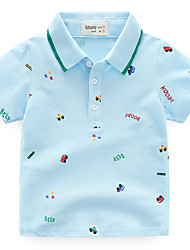 cheap -Boys' Daily Solid Colored Tee, Polyester Summer Short Sleeves Cute Light Blue