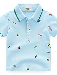 preiswerte -Jungen Alltag Solide T-Shirt, Polyester Sommer Kurzarm Niedlich Leicht Blau