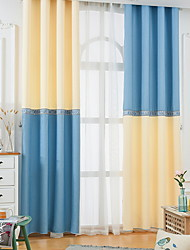 cheap -Kids Curtains Living Room Color Block Cotton / Polyester Flocking