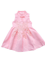 cheap -Girl's Daily Holiday Solid Colored Floral Dress, Cotton Polyester Summer Sleeveless Cute Active Red Blushing Pink Beige Purple