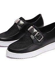 cheap -Women's Shoes Horse Hair Spring Fall Comfort Loafers & Slip-Ons Flat Heel Round Toe for Black Blue