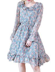 cheap -Women's Holiday Chiffon Dress - Floral Print