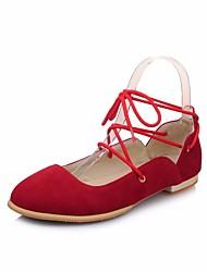 povoljno -Žene Cipele Nubuk koža Proljeće Jesen Balerinke Udobne cipele Ravne cipele Ravna potpetica za Kauzalni Crn Bež Crveni Drak