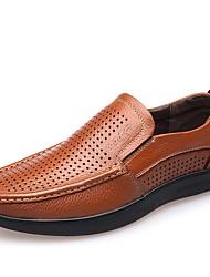 preiswerte -Herrn Schuhe Leder Frühling Sommer Komfort Loafers & Slip-Ons für Normal Büro & Karriere Schwarz Orange Braun