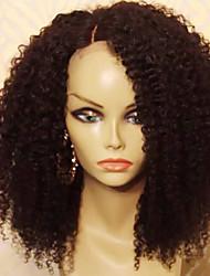 Недорогие -Remy Лента спереди Парик Бразильские волосы Кудрявый Парик Стрижка каскад 150% Плотность волос с детскими волосами Парик в афро-американском стиле Для темнокожих женщин Черный Жен.
