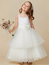 cheap -A-Line Ankle Length Flower Girl Dress - Tulle Sequined Sleeveless Straps with Sequin Sash / Ribbon Pleats Flower by LAN TING BRIDE®
