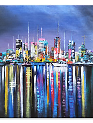 cheap -STYLEDECOR Modern Hand Painted Abstract Colorful Fantasy City Oil Painting on Canvas for Wall Art