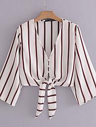 cheap -Women's Business Street chic T-shirt - Striped Deep V