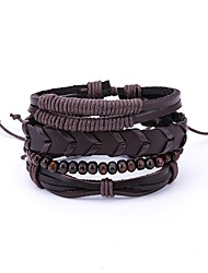 cheap -Men's Leather 4pcs Wrap Bracelet - Vintage Rock Irregular Brown Bracelet For Daily Going out