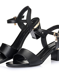 cheap -Women's Shoes Patent Leather Summer Comfort Sandals Block Heel Buckle for White Black