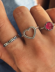 cheap -Alloy Heart Ring Set - 3pcs Circle Basic / Fashion Silver Ring For Daily / Date
