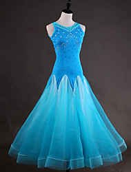 cheap -Ballroom Dance Dresses Women's Performance Spandex Organza Crystals / Rhinestones Cascading Ruffles Sleeveless Dress
