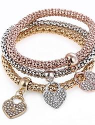abordables -Femme Cœur 3pcs Charmes pour Bracelets Bracelets de rive - Doux Arc-en-ciel Bracelet Pour Soirée Cadeau
