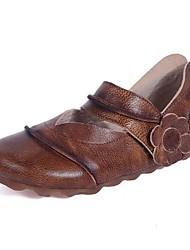 abordables -Femme Chaussures Cuir Printemps / Automne Confort Ballerines Talon Plat Bout rond pour Décontracté Marron