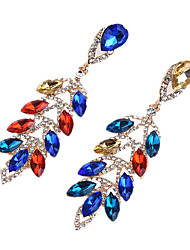 cheap -Women's Oversized Leaf Cubic Zirconia Zircon Drop Earrings - Oversized / Fashion Red / Blue / Champagne Earrings For Party / Prom