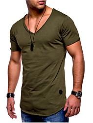 preiswerte -Herrn Solide - Grundlegend Sport Übergrössen Baumwolle T-shirt Schlank / Kurzarm
