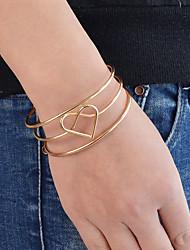 baratos -Mulheres Coração 1 Pulseiras Algema - Casual Básico Formato Circular Dourado Prata Pulseiras Para Diário Cerimônia