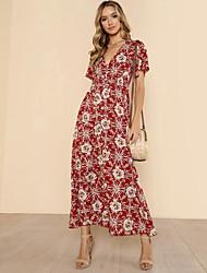 cheap -Women's Going out Street chic Cotton Slim Chiffon Dress - Floral / Geometric Print Maxi V Neck / Deep V